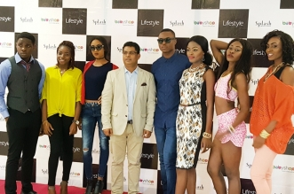 Marketing Head Artee Group, John Goldsmith (fourth from left) flanked by models at the launch of Babyshop, Splash and Lifestyle Stores by Artee Group in Port Harcourt recently.