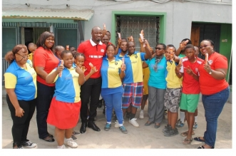 L-R, Mrs Folasade Abiola, Senior Brand Manager (Snacks), UAC Foods, Gala Brand Ambassador, Harrison Okiri (Harry Song), Mrs. Rose Mordi, The National President, Down Syndrome Foundation Nigeria Proprietress and other members of the foundation during the visit of UAC Foods Limited to Down Syndrome Foundation, Masha, Lagos recently