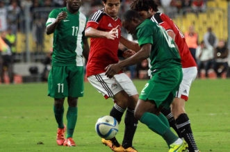 March 30 2016 Alexandria Cairo Egypt Egyptian players and Nigerian players compete during the