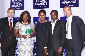 L-R: Partner, White and Case, Mr. Chris Utting; Company Secretary/Chief Legal Counsel, Sterling Bank Plc, Justina Lewa; Director, Legal, Africa Finance Corporation, Nana Eshun; Chief Executive Officer, Legal Blitz Limited, Mr. Lere Fashola; and Partner/Co-Head, Africa Practice, Latham and Watkins, Mr. Kem Ihenacho, during the 2016 Nigerian Legal Awards in Lagos... on Friday.